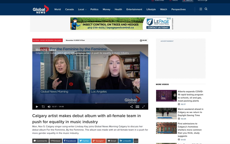 Global News Morning Calgary (Interview, November 5, 2018)