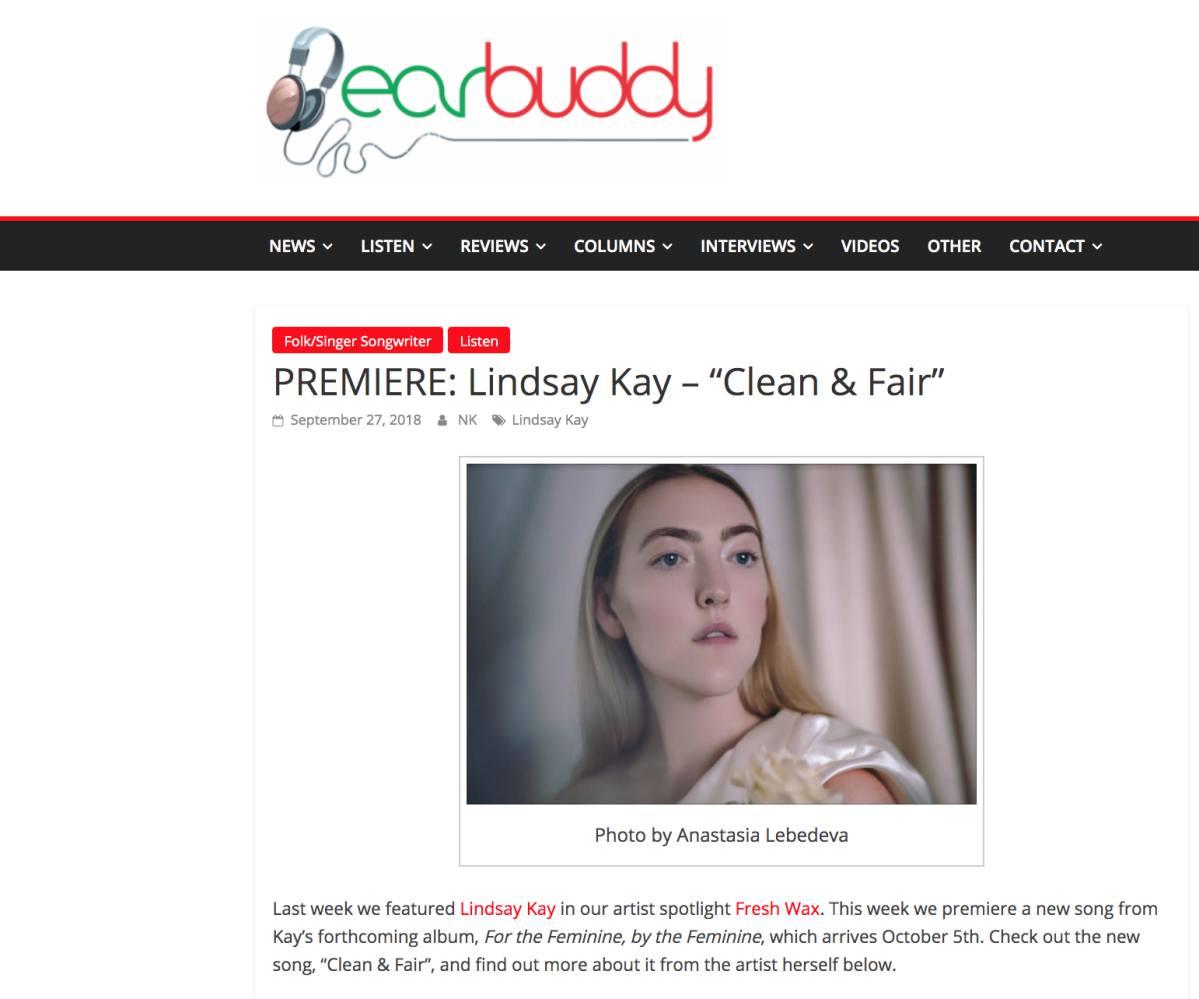 Earbuddy (Song Premier Clean & Fair, Sept. 2018)