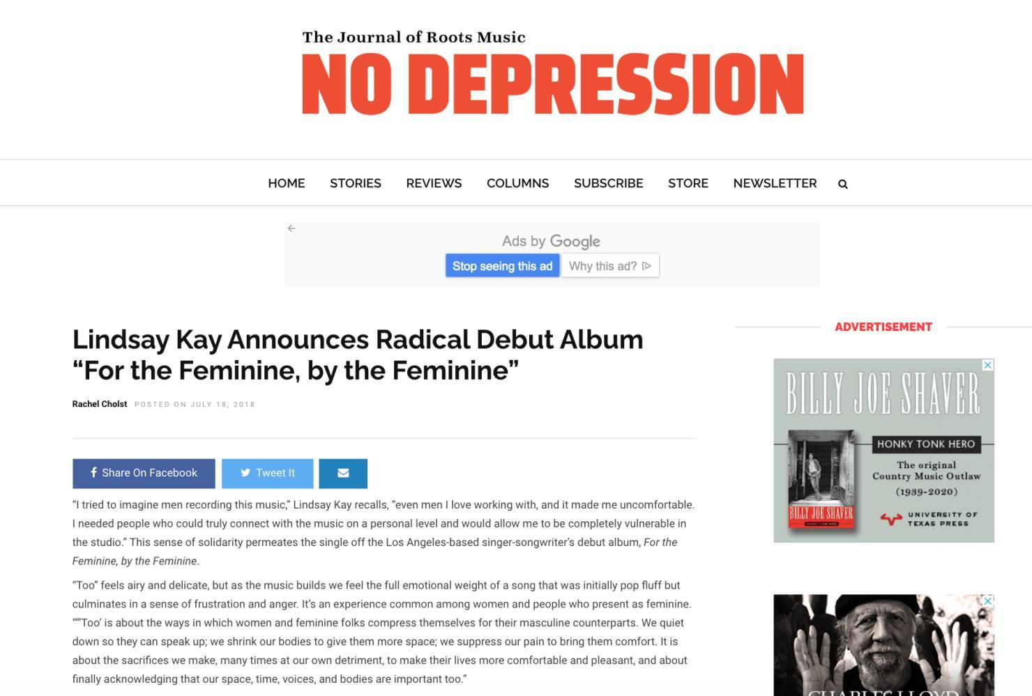 No Depression (Album Announcement, July, 2018)