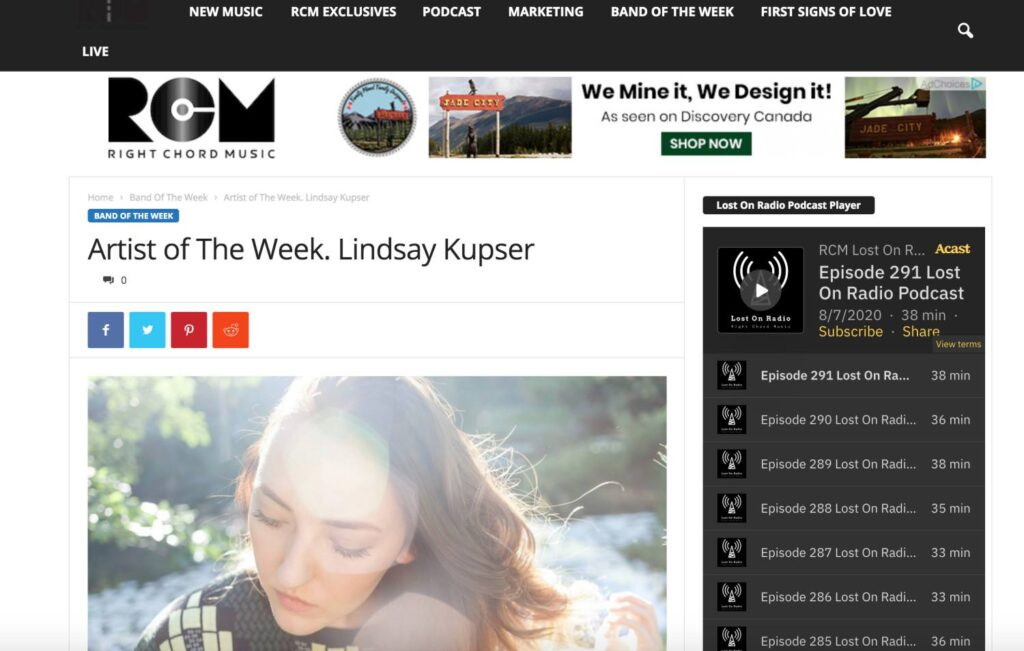 """Quiet Songs review and feature on Right Chord Music's """"Artist of the Week"""""""